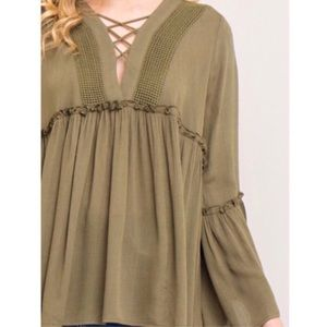 Tops - Olive Boho Empire Waist Blouse